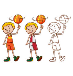 drafting character for basketball player vector image
