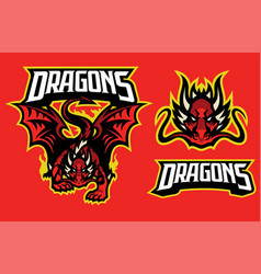 dragon character in sport mascot style vector image
