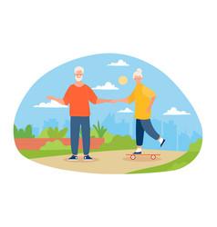 Elderly grey couple with skateboard in park vector
