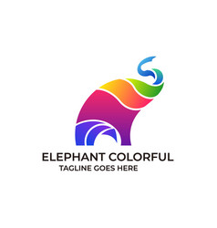 elephant colorful design concept template vector image