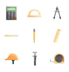 Engineer tools icon set cartoon style vector