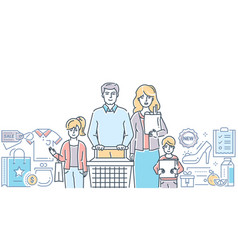 family shopping - modern colorful line design vector image