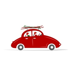 Family traveling by red car with skis vector image