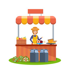 Farmer at counter sells vegetables and food vector