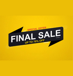 final sale banner sticker up to 70 discount vector image