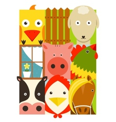 Flat Childish Rectangular Cattle Farm Animals Set vector image
