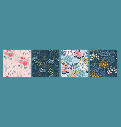 floral abstract seamless patterns design vector image