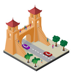 Fortress gate trees roadway cars and people vector