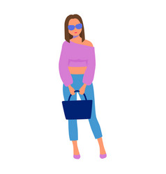 girl in glasses stands with a bag vector image