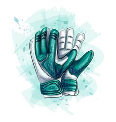 Goalkeeper gloves football gloves on white vector