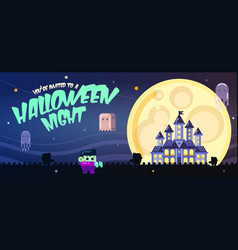 halloween poster with castle ghosts full moon vector image