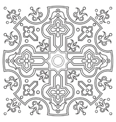 Hand drawing pattern for tile in black and white vector image