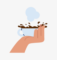 Hand holding cup coffee tea hot vector