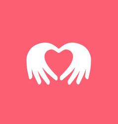hand love pink valentine logo vector image