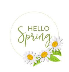 Hello spring beautiful daisy wreath isolated vector