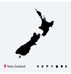 High detailed map new zealand with navigation vector