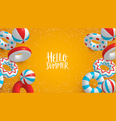 holiday summer background 3d lifesavers and vector image