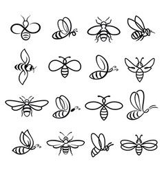 honey bee icons vector image