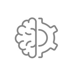 Human brain with gear wheel line icon engineering vector