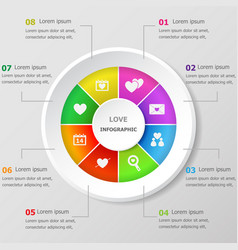 Infographic design template with love icons vector