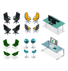 isometric set of office chairs and tables easy vector image