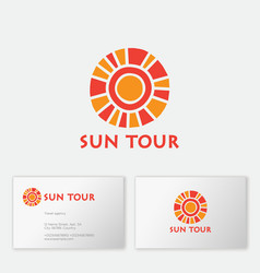 Logo sun tours tourism agency mosaic vector