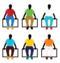 man silhouette sitting set in color vector image