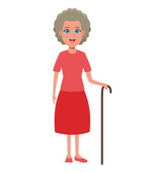 Old woman avatar cartoon character vector