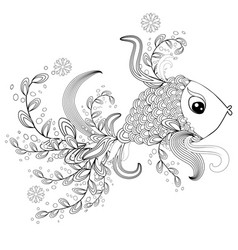 Ornamental graphic fish floral line pattern vector