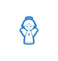Paper sticker on white background Christmas angel vector
