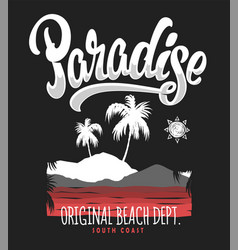 Paradise typography graphics for t-shirt print vector