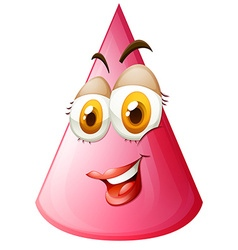Pink cone with face vector image