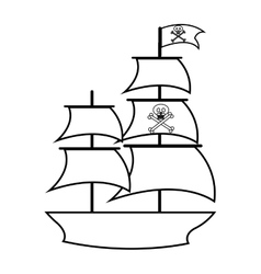 Pirate ship isolated icon vector