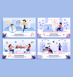 pregnant woman career and health banners vector image