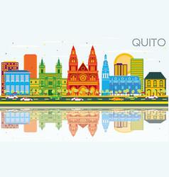 Quito ecuador city skyline with color buildings vector