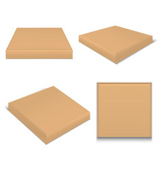 realistic template blank brown package pizza boxes vector image