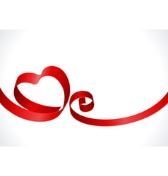 red heart from ribbon vector image