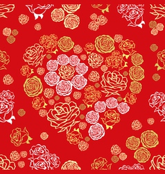 red seamless pattern with flower hearts vector image