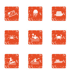 River hike icons set grunge style vector