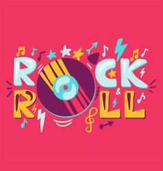 rocknroll label with vinyl vector image