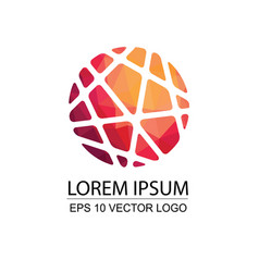 round modern sphere low poly business logo design vector image