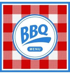 Rounded barbecue label on pattern background vector