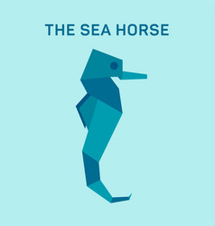 Seahorse origami flat trend vector