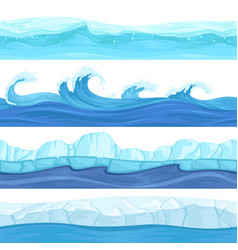 Seamless water waves liquid and ice surface ocean vector