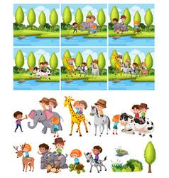 Set children riding animal vector