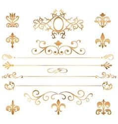Set golden patterns and vignette vector