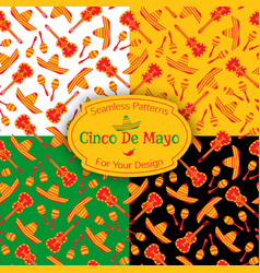 set of 4 mexican fiesta symbols seamless pattern vector image