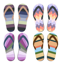 Set of beach slippers vector