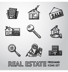 Set of freehand REAL ESTATE icons - landscape vector