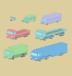 Set of vehicle in isometric vector